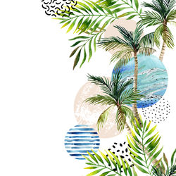 250x250 Watercolor Palm Tree Leaf Wallpaper