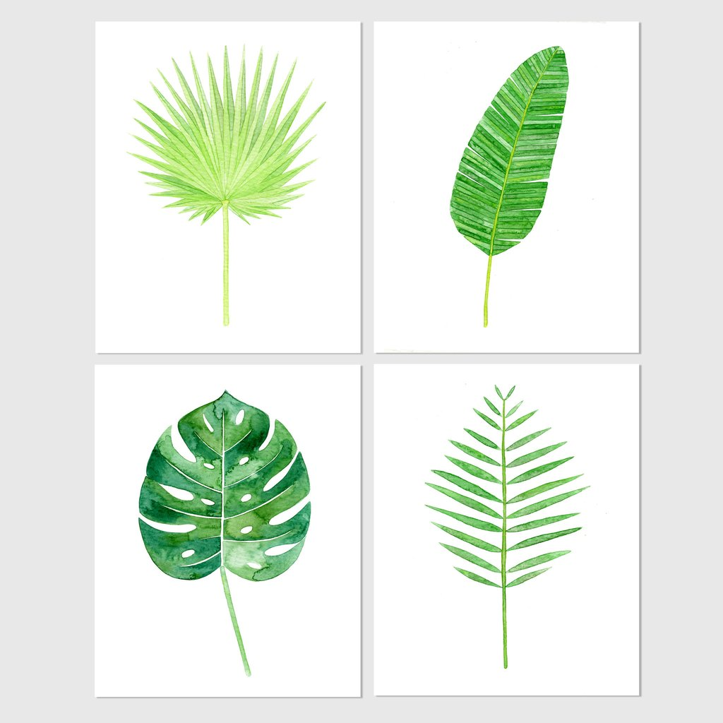 1024x1024 Set Of 4 Tropical Leaf Botanical Watercolor Prints Carly Rae Studio