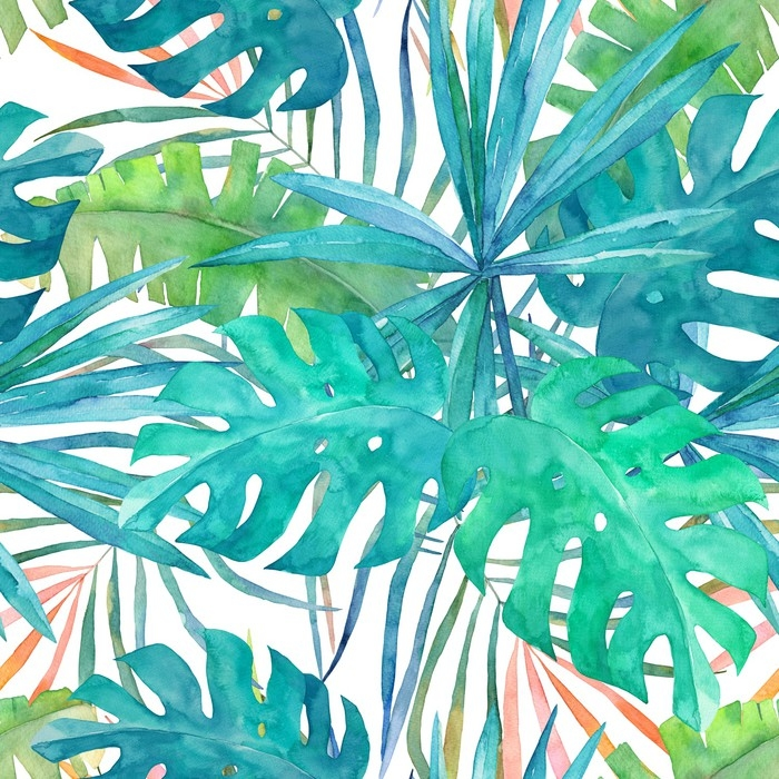 700x700 Summer Seamless Pattern With Watercolor Palm Leaves On White