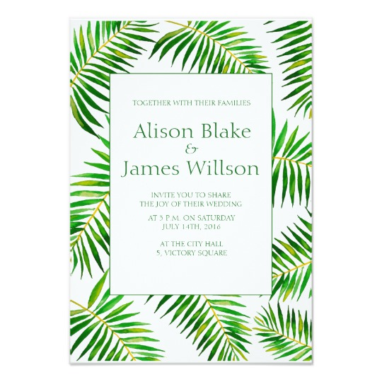 540x540 Tropical Watercolor Palm Leaves Wedding Invitation Zazzle.co.uk