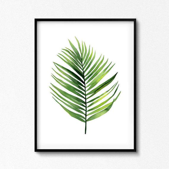 570x570 Watercolor Palm Leaf Watercolour Plant. Palm Leaf Poster Etsy