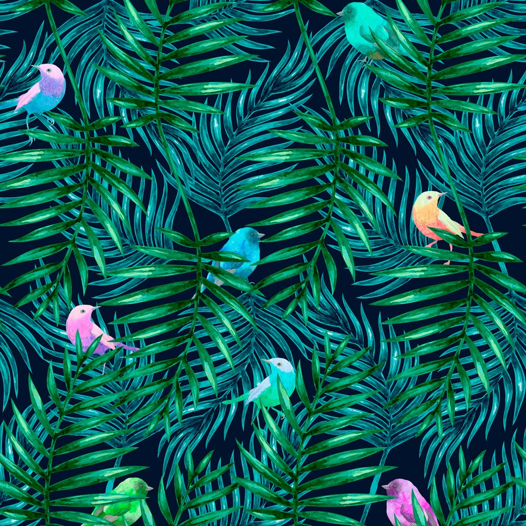 1024x1024 Watercolor Palm Leaves And Birds Removable Wallpaper By Wallspruce