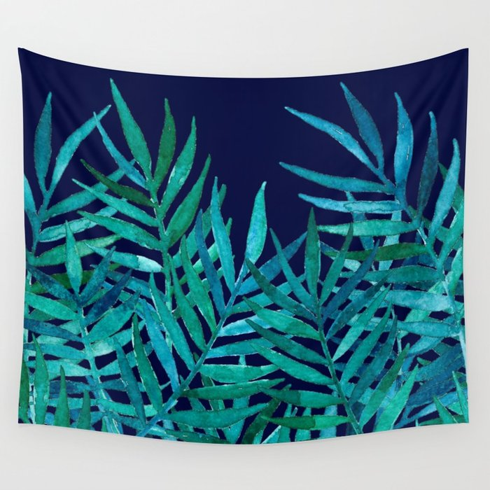 700x700 Watercolor Palm Leaves On Navy Wall Tapestry By Micklyn Society6