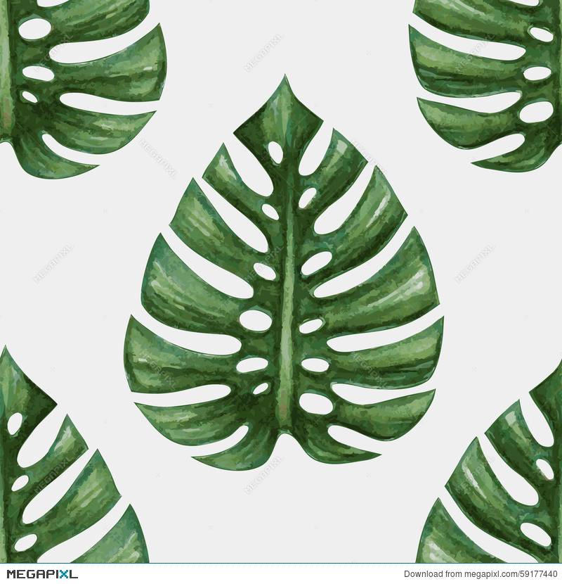 800x830 Watercolor Tropical Palm Leaves Seamless Pattern Illustration