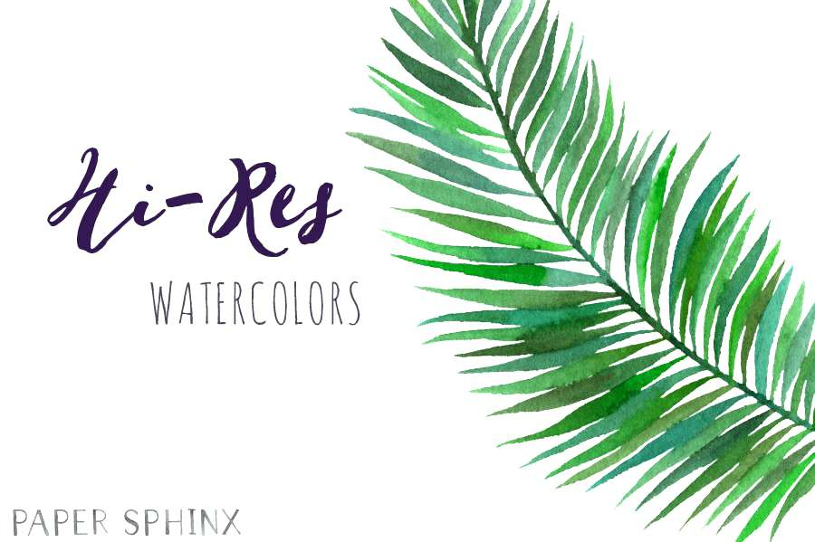 900x599 Watercolor Tropical Palm Leaves Tissue Paper Leaf Png Thezero.co