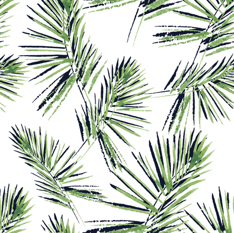 470x469 Watercolor Palm Leaves Pattern Fabric