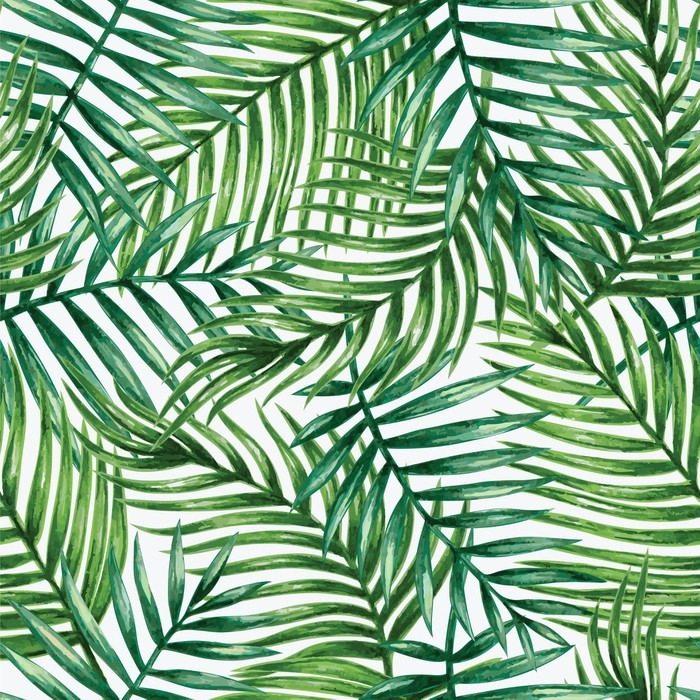 700x700 Watercolor Tropical Palm Leaves Seamless Pattern. Vector