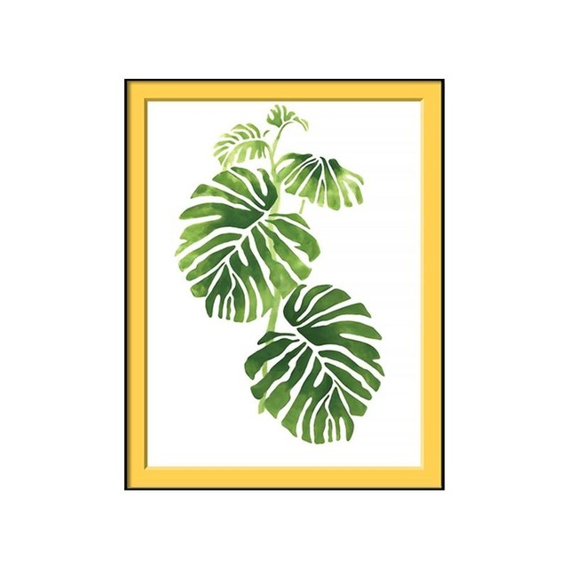 640x640 Modern Single Vertical Rectangle Watercolor Palm Leaves Floral