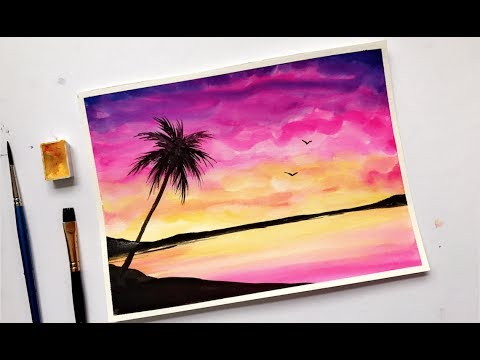480x360 Palm Tree Colorful Sunset Watercolor Painting Tutorial