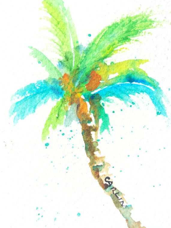570x760 Palm Tree Painting Inspirational Original Watercolor Coconut Palm