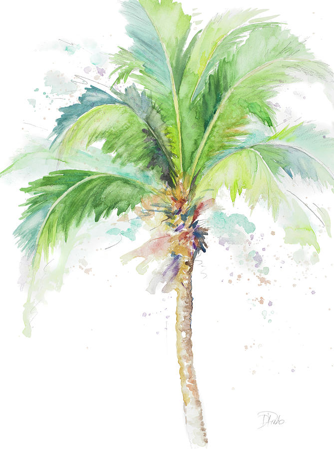 669x900 Watercolor Coconut Palm Painting By Patricia Pinto