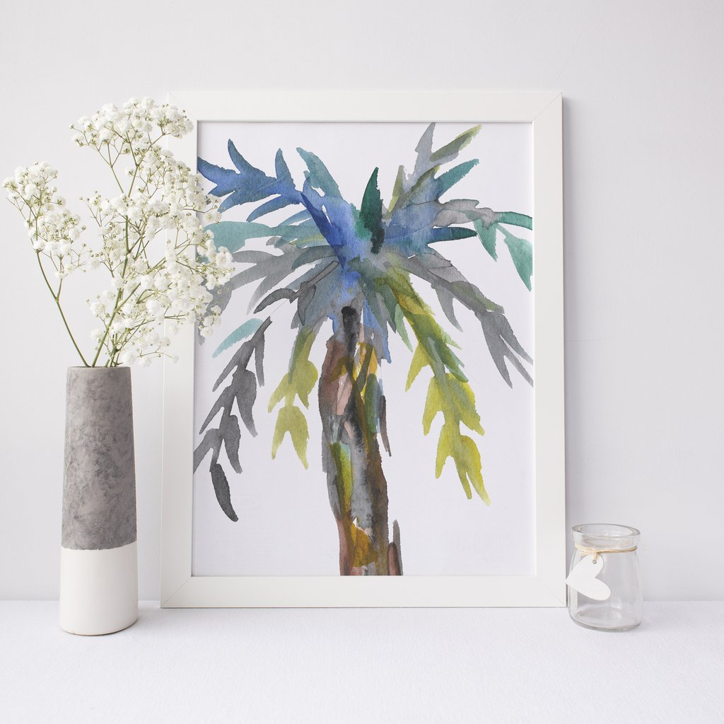 1024x1024 Watercolor Palm Tree Abstract Wall Art Digital Print Jetty Home