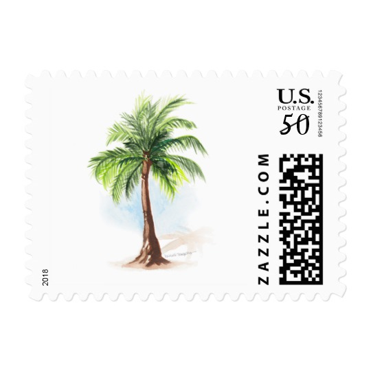 540x540 Watercolor Palm Tree Postage Stamps