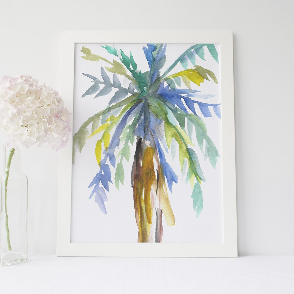 1024x1024 Watercolor Palm Tree Tropical Wall Art Digital Print Jetty Home