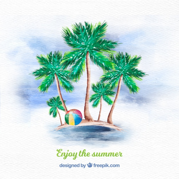 626x626 Watercolor Palm Tree Background Vector Free Download