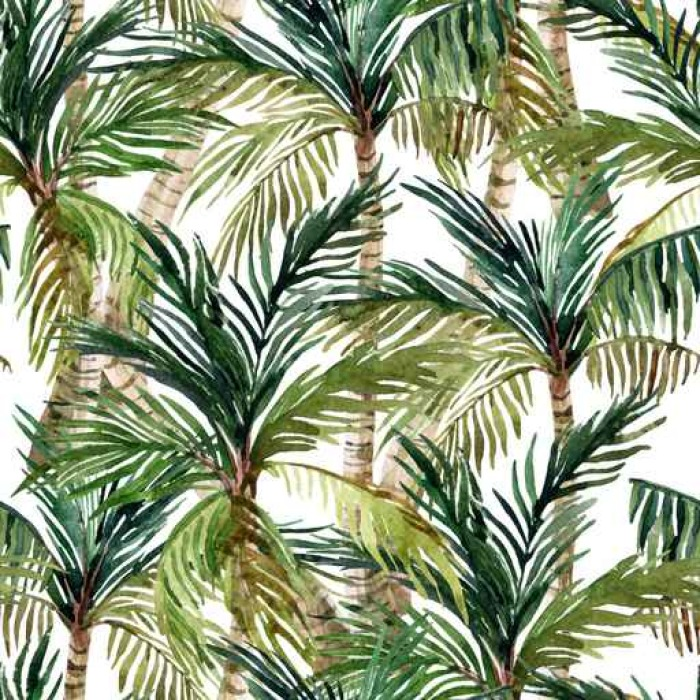 700x700 Watercolor Palm Tree Seamless Pattern Wall Mural We