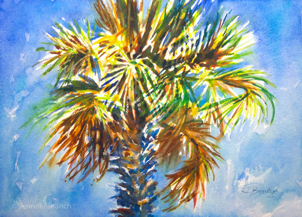 1000x720 Charleston Palm Tree Watercolor Painting Tutorial