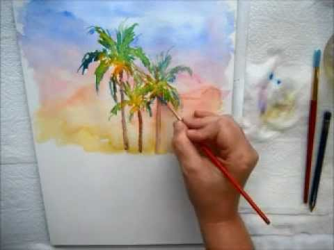 480x360 Coconut Palm Trees In Watercolor