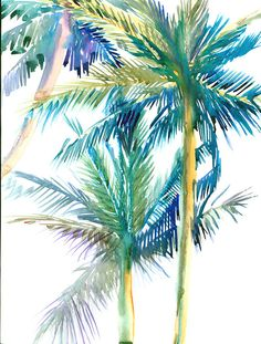 Watercolor Palm Trees Art