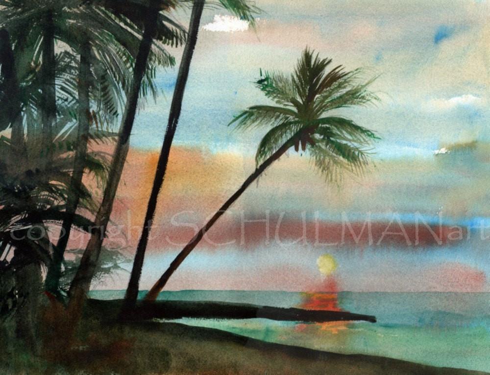 1000x765 Original Watercolor Painting Seascape Beach Scenes Landscape