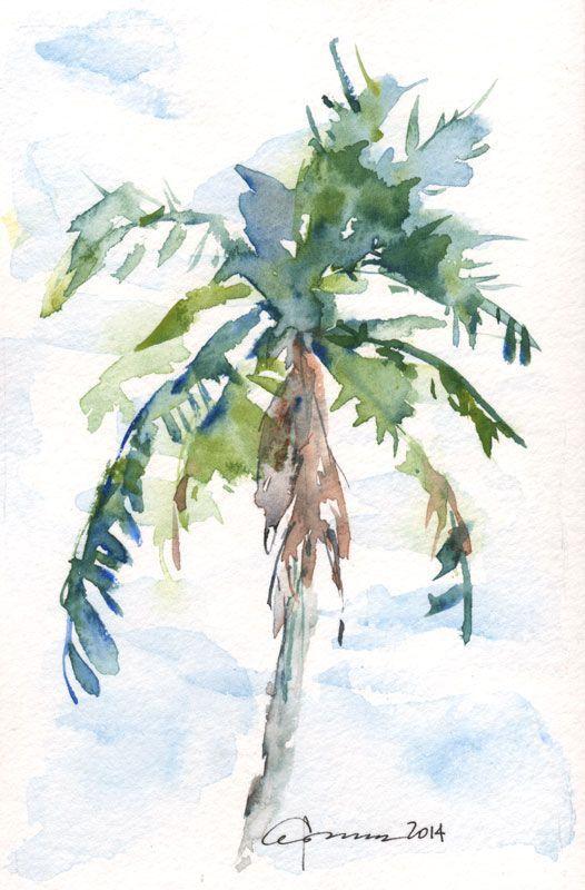 526x800 Palm Tree Art Palm Tree Drawing Watercolors Palm