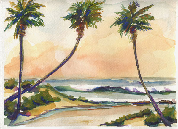 600x436 Palm Trees Modern Contemporary Seascape Landscape And Still Life