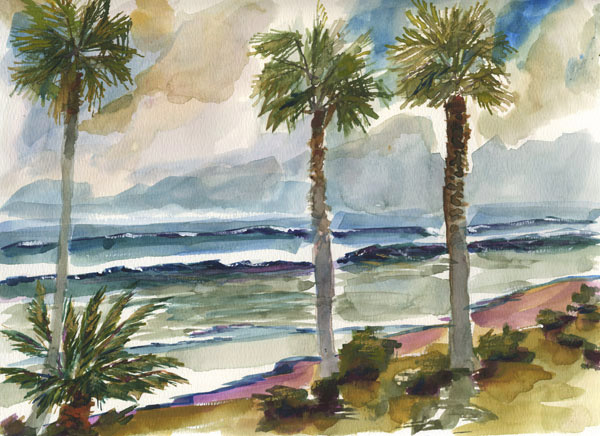600x436 Beach Palm Trees Modern Contemporary Seascape Landscape And Still
