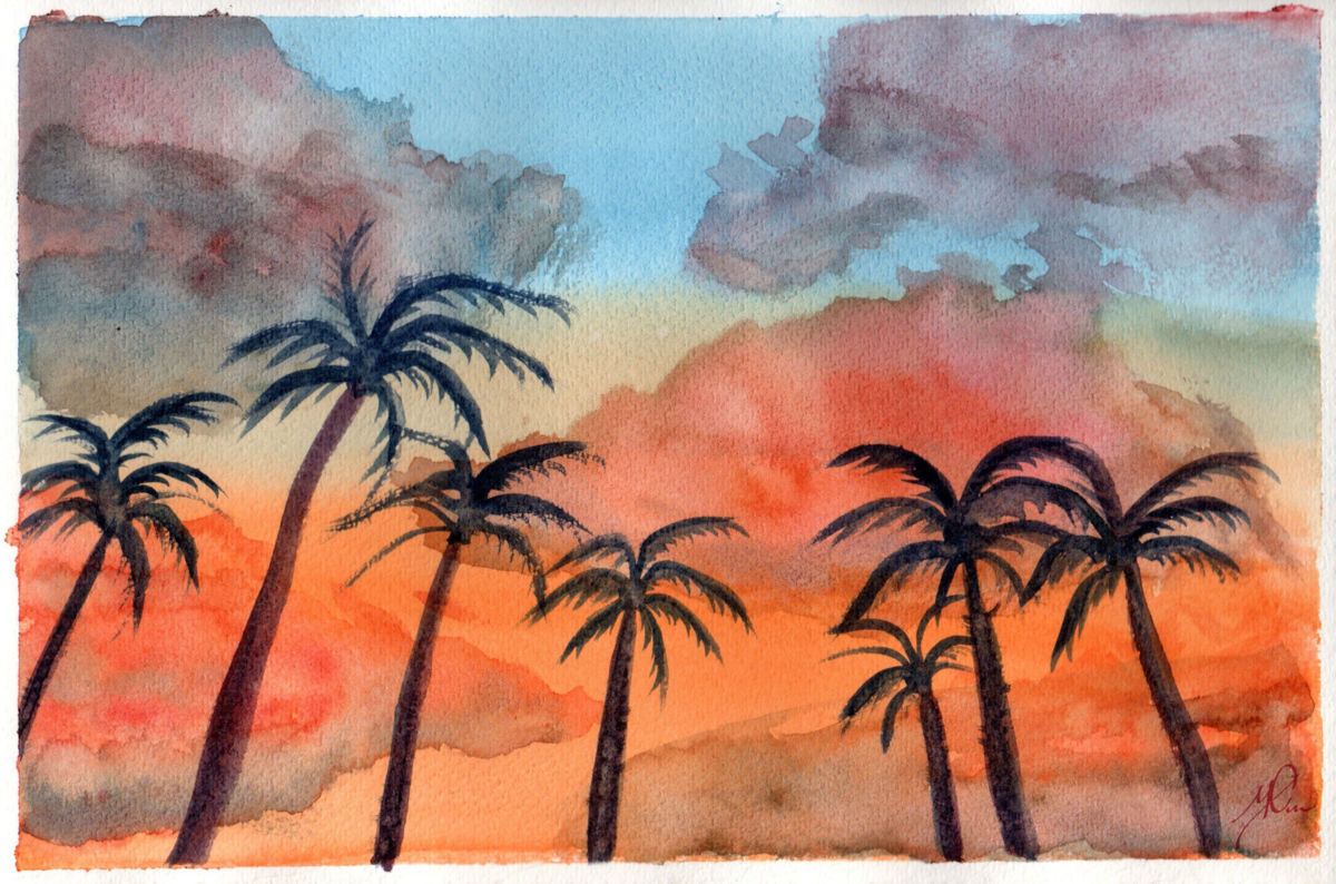 1200x794 Palm Trees In The Sunset (Original Watercolor) (Sonia Minous)