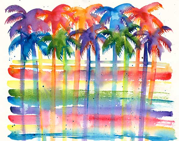 585x463 Tropical Palm Trees Watercolor Painting Abstract Nadine Abstract