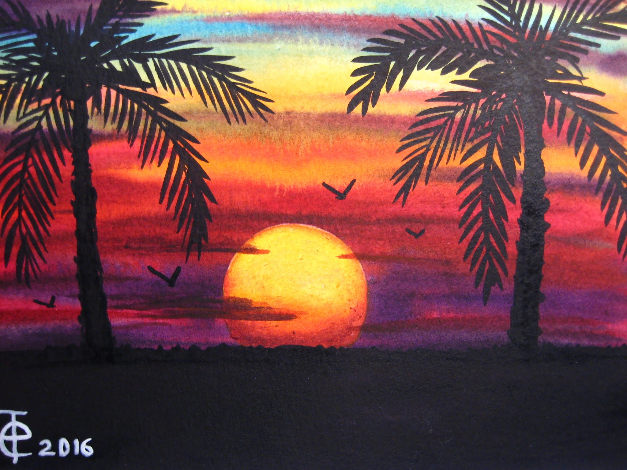 2048x1536 Watercolor Painting Sunset With Palm Trees