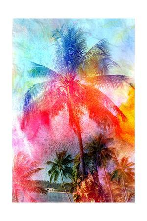 300x450 Beautiful Watercolor Palm Trees Art Print By Tanor27
