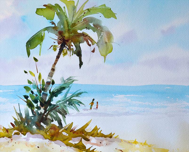 803x644 Watercolor Lesson Beach Scene And Palm Tree