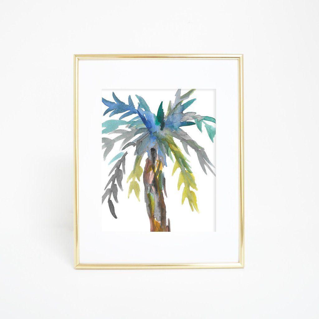 1024x1024 Watercolor Palm Tree Abstract Wall Art Digital Print Abstract
