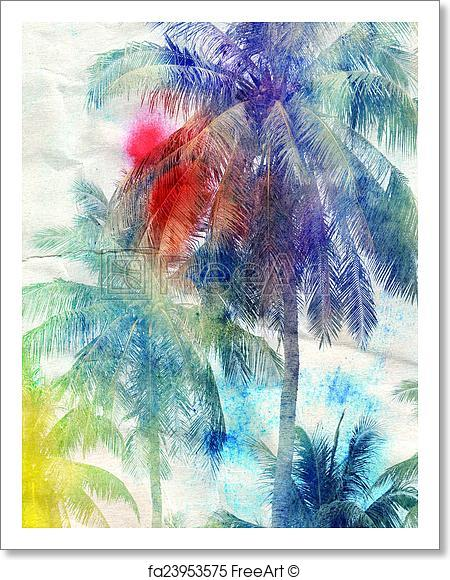 450x580 Watercolor Silhouettes Of Palm Trees Art Print Home Decor Wall Art