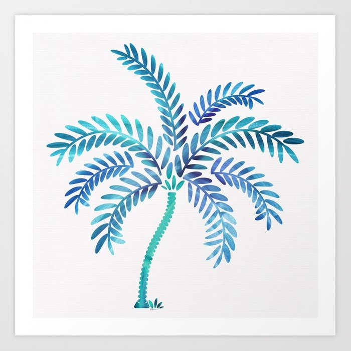 700x700 Whimsical Watercolor Palm Tree Art Print By Kristiangallagher
