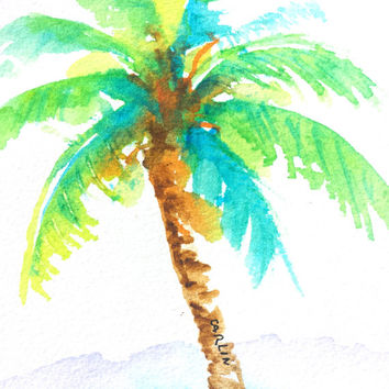 354x354 Coconut Palm Tree Paintings Flamingo Watercolor Painting Art Print
