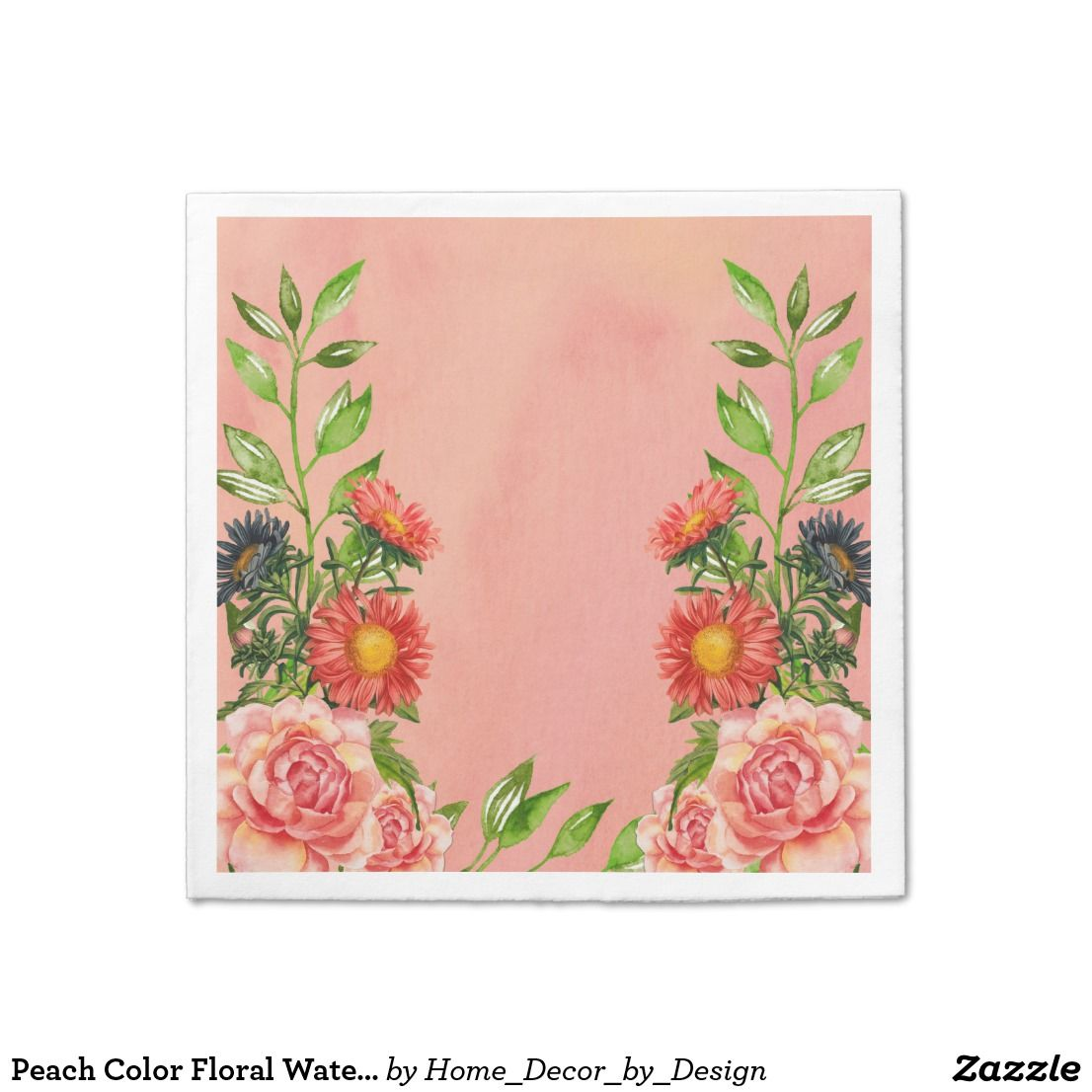 1106x1106 Peach Color Floral Watercolor Paper Napkin Paper Plates And