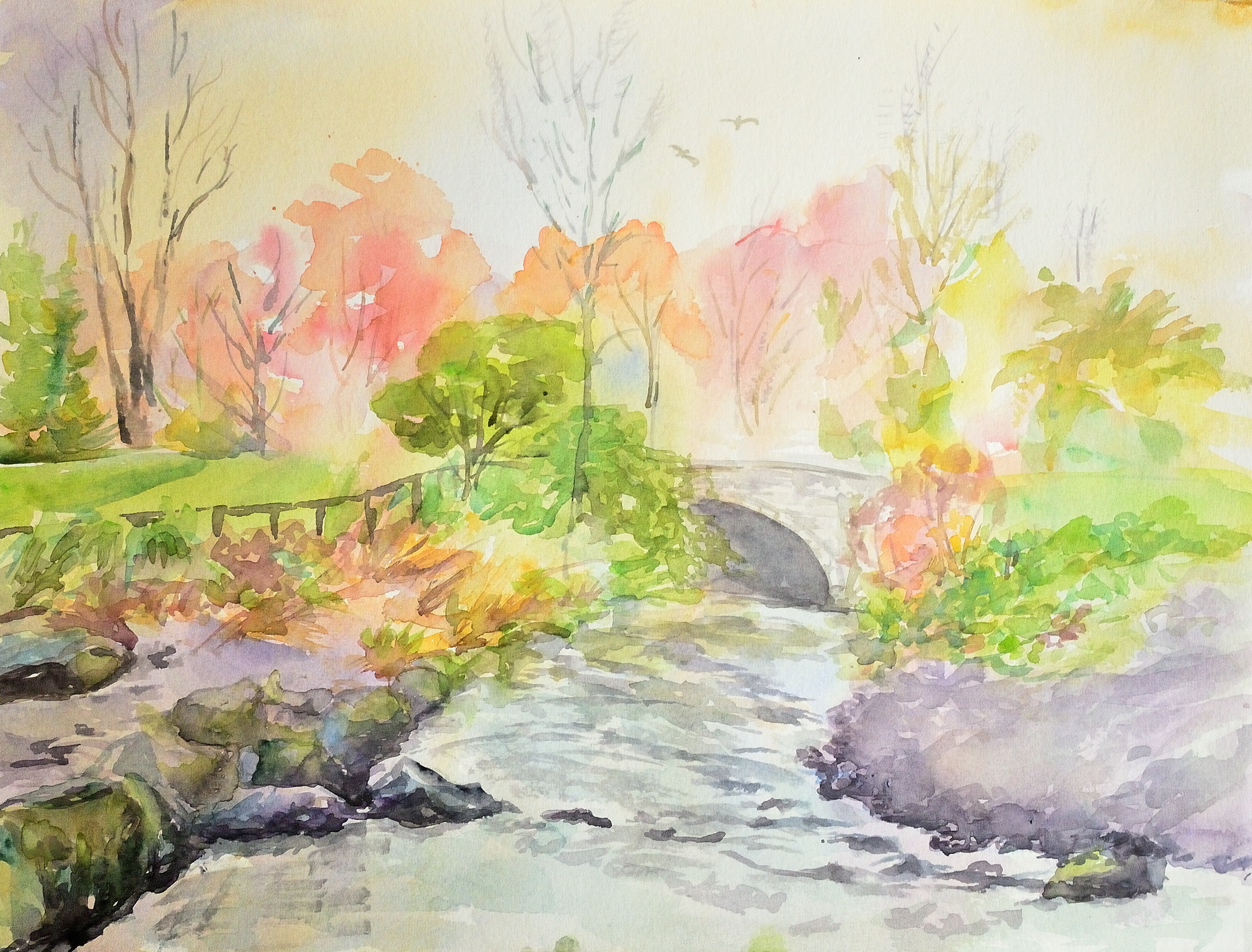 3239x2462 A Drizzling Day In Marlay Park, Dublin. Watercolor A3 Tofan