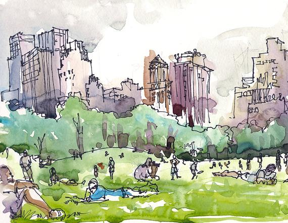 570x443 New York Central Park Watercolor Sketch Sheep Meadow A Etsy