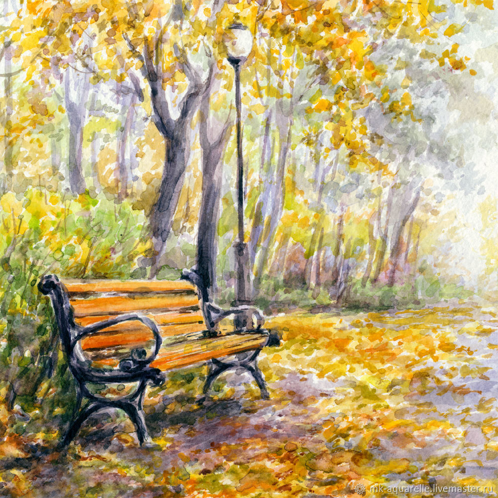 1000x1000 Painting Watercolor A Bench In The Park Shop Online On