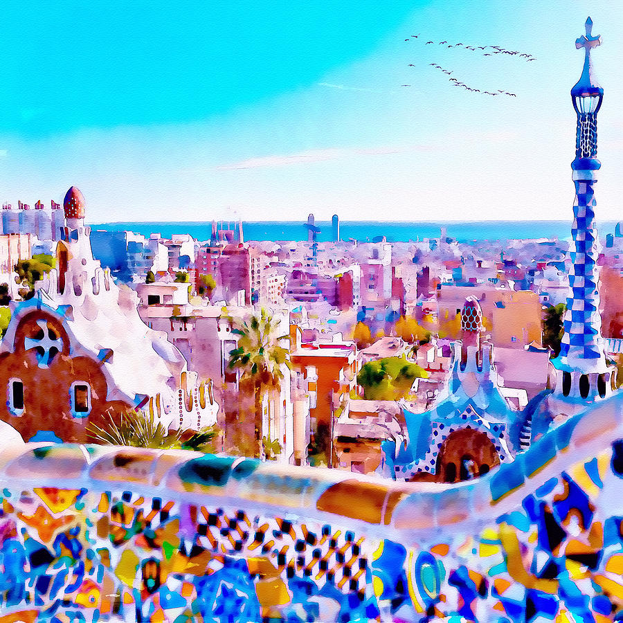 900x900 Park Guell Watercolor Painting Painting By Marian Voicu