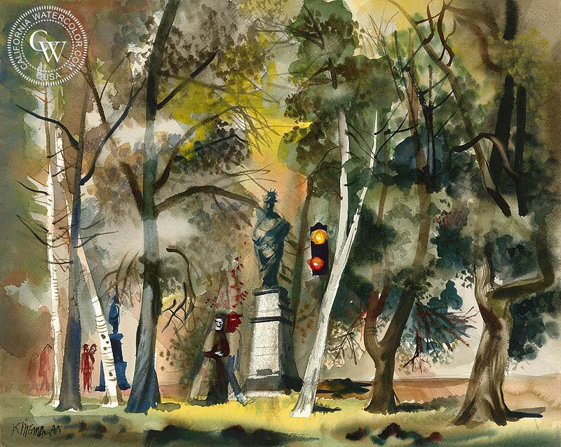 800x638 Park Scene, 1945, A Watercolor Painting By Dong Kingman