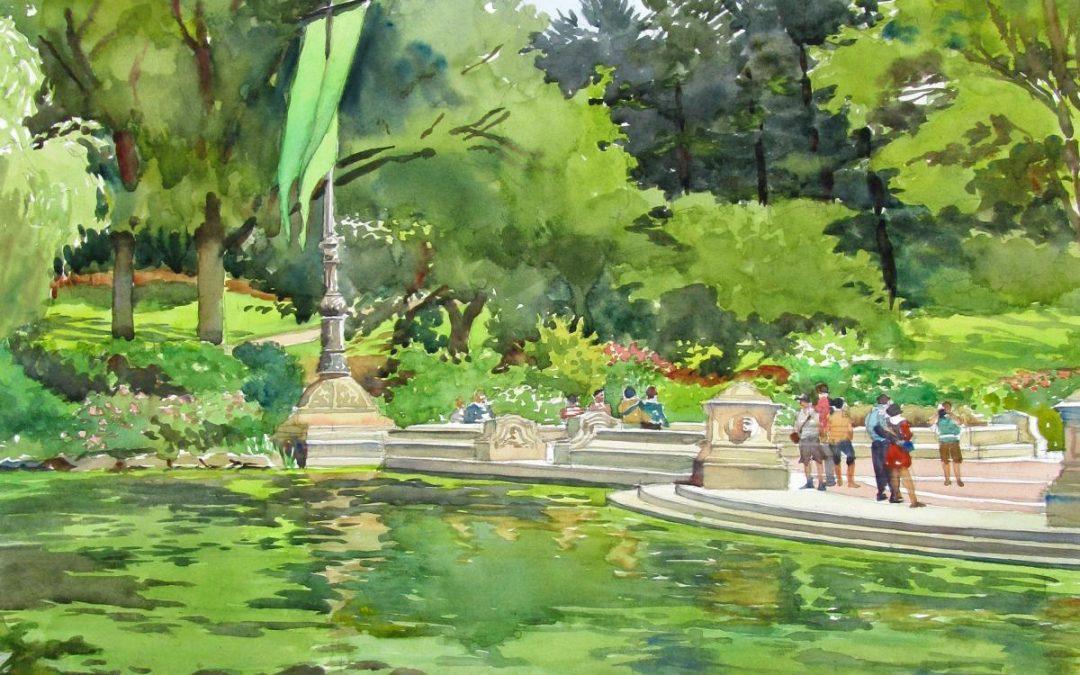 1080x675 Bethesda Terrace Central Park En Plein Air Watercolor Landscape