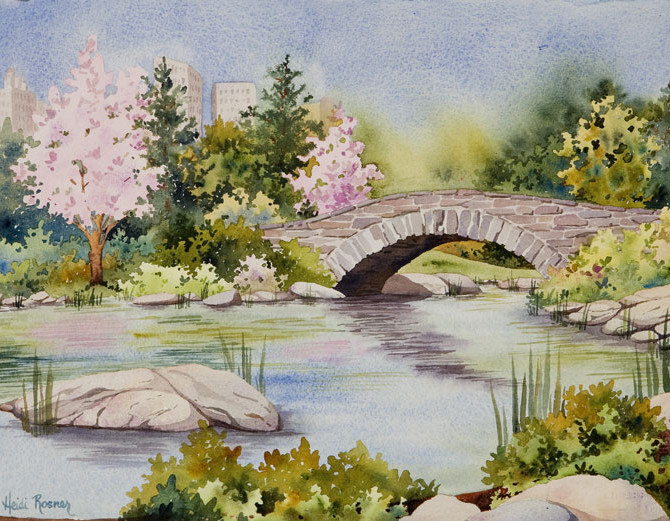 670x521 The Pond, Central Park New York City Watercolor Cityscape