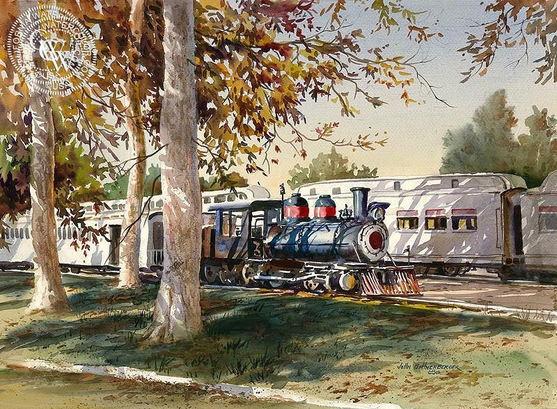 800x588 Travel Town, Griffith Park, Watercolor Art By John Bohnenberger