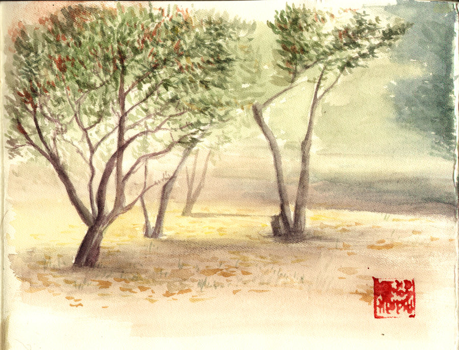 900x685 Watercolor Park By Ritam
