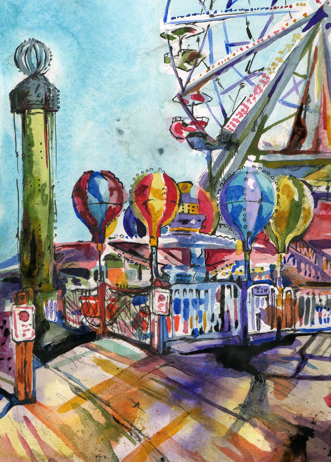 1076x1500 Amusement Park Watercolor Balloon Walk. Watercolor And Ink On