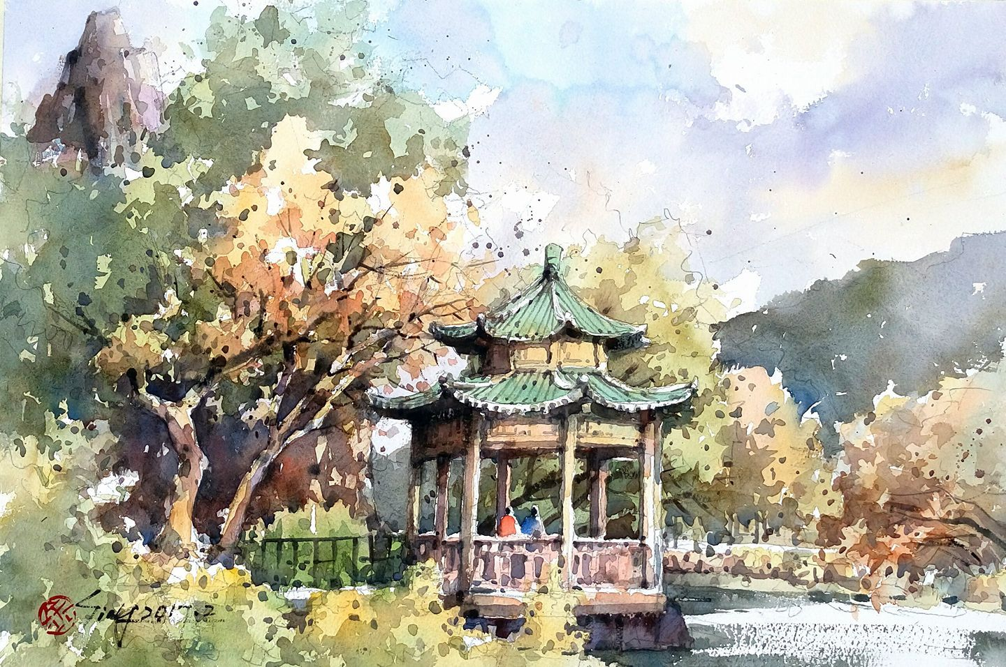 1440x956 Guo Kim Seung, Creek Park Watercolor Landscapes With