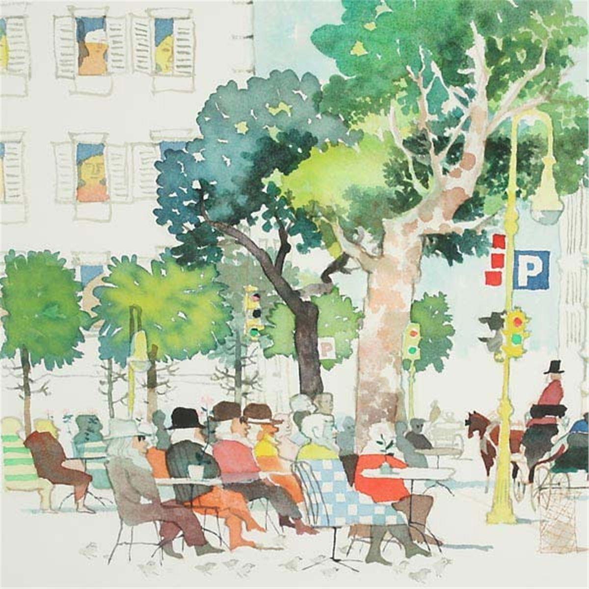 1200x1200 Don Kingman At The Park Watercolor