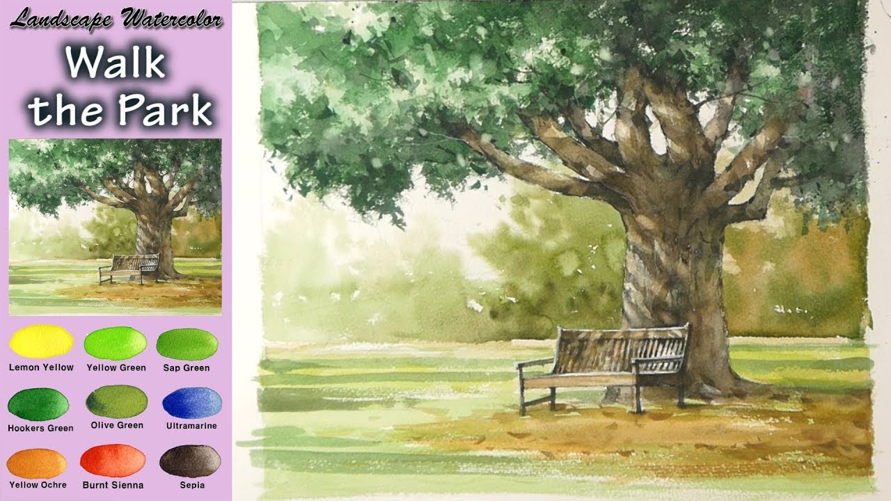 1280x720 Drawing Landscape Watercolor Walk In The Park (Wet In Wet. Arches